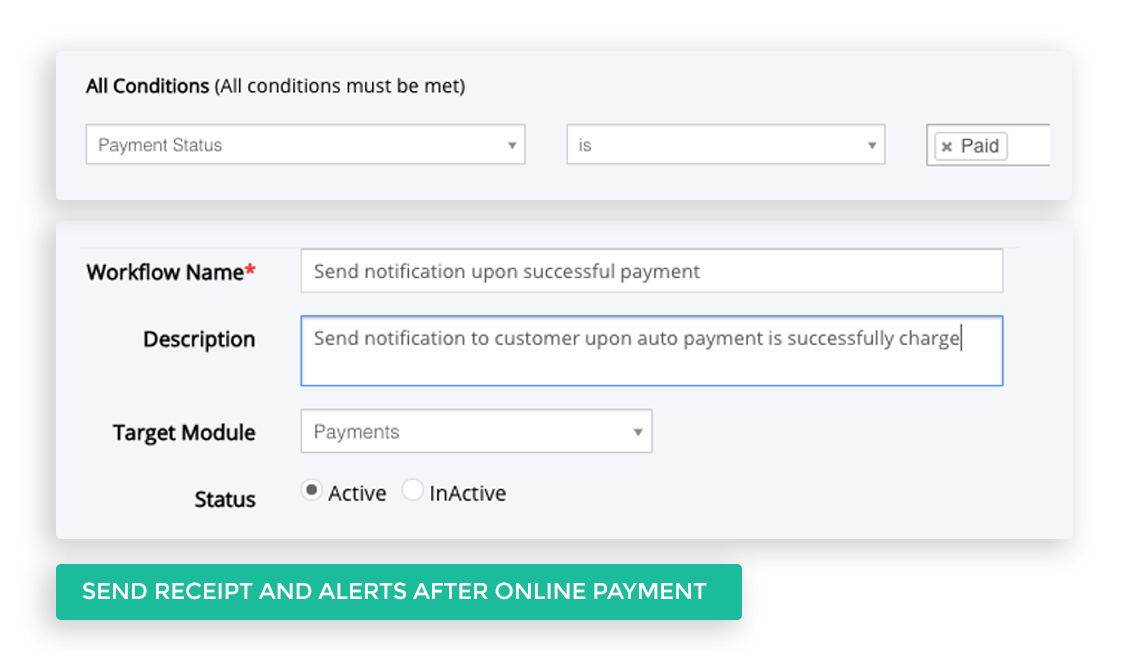 Send receipt and alerts after Online Payment