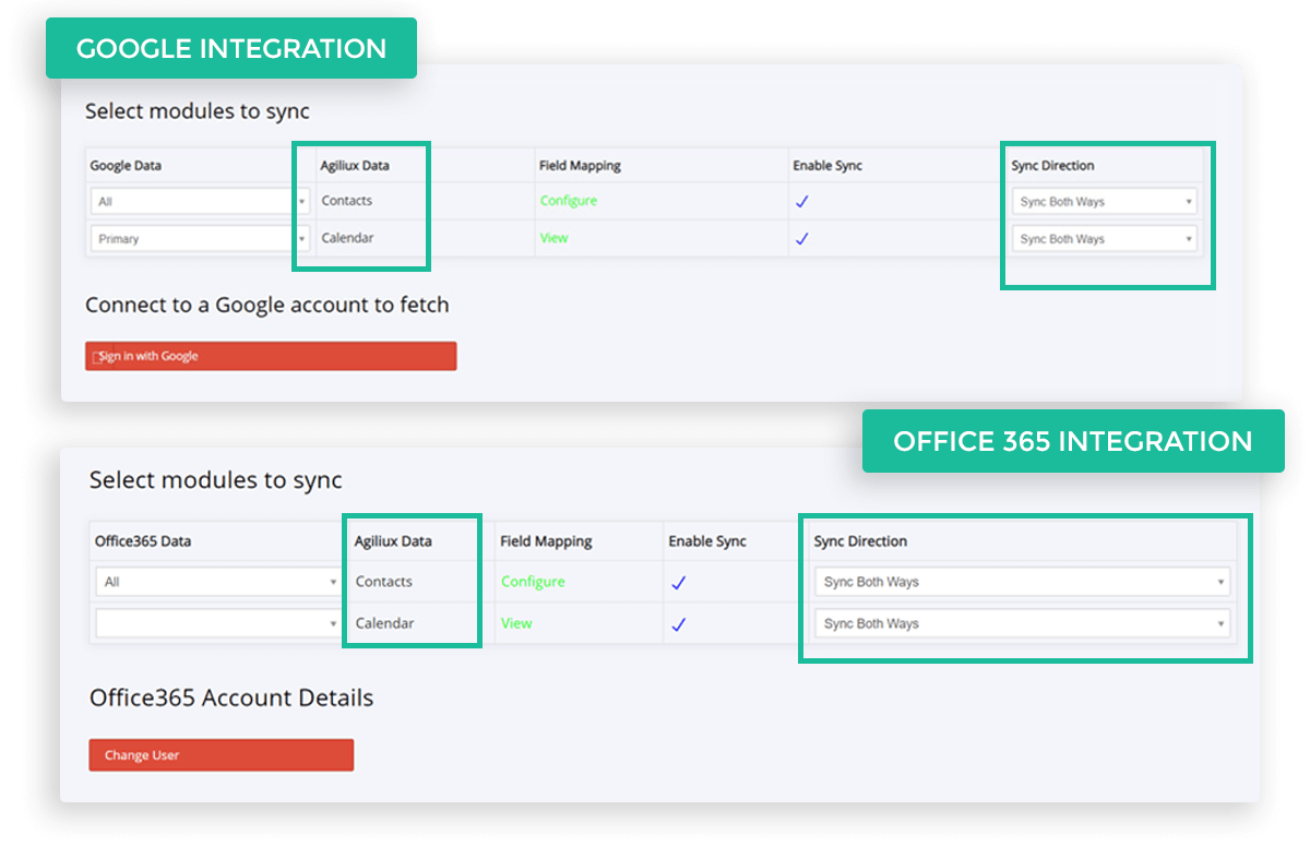 Sync with Google and Office 365