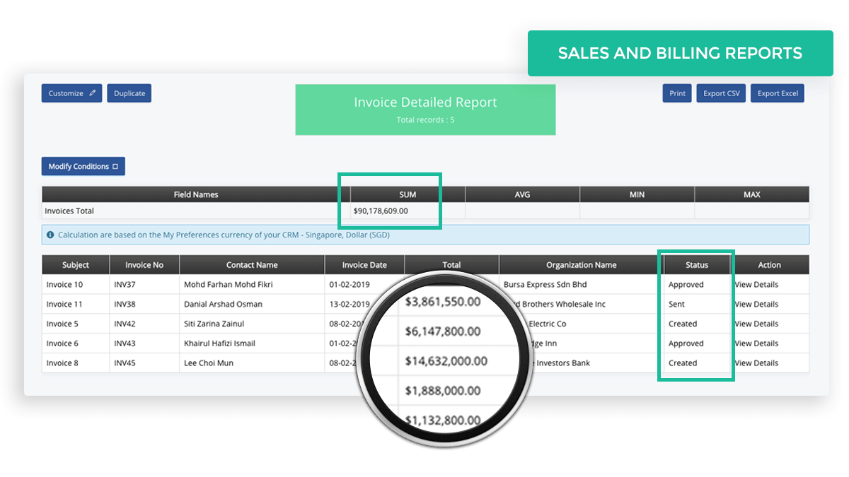 Generate Sales and Billing Reports