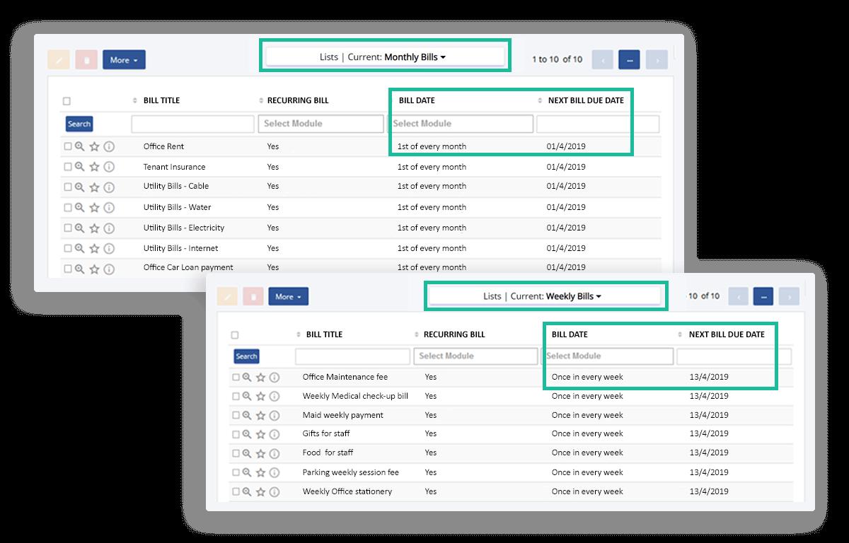 Track all your regular office bills